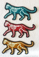 X-ray GLOW cats  embroidery patches by goiku