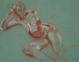 Reclining Nude Life Drawing by Art-of-Eric-Wayne