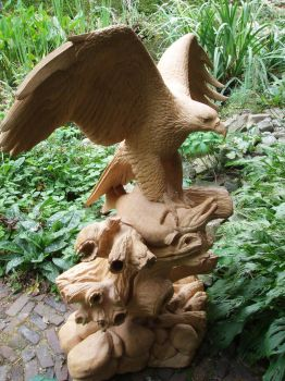 Eagle with salmon by woodcarve