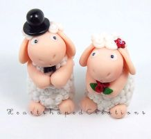 Sheep Wedding Cake Topper by HeartshapedCreations