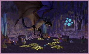 The Dragon's Lair at night by whiteroses-art
