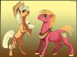 Applejack and Mac by Aspendragon
