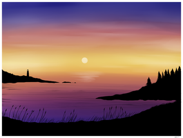 Digital watercolor sunset by CrypticGrin