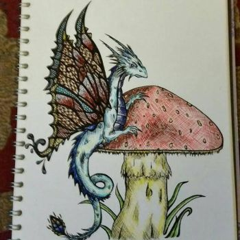 Fey Dragon on Mushroom by kye-art