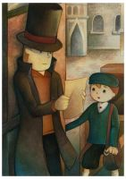 Professor Layton and Luke by EternaLegend
