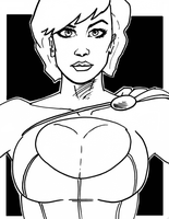 Powergirl Bust Sketch by phymns