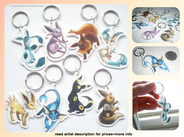 Eevee Keychains for Charity by GlassPanda