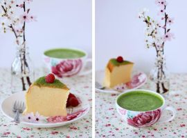 Japanese Cheesecake and Matcha Tea by Almadejonge
