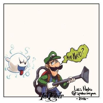 Inktober Day-06  Luigi by Spidersaiyan