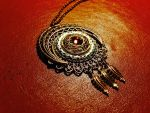 Steampunk FIligree Moon Necklace With Amber by CrossTheHatter