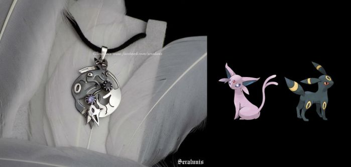 'Espeon-Umbreon Yin Yang', sterling silver pendant by seralune