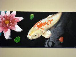 Koi carp and lilly by barbelith2000ad