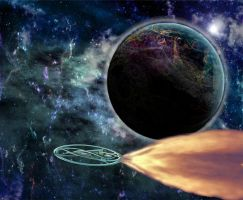 The Psamyr Planet and a psamyrian spaceship by Jakeukalane