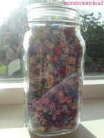 Lucky paper stars in a jar 2 by monsterinmyhead
