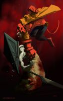 HellBoy vs Pyramid Head by licarto