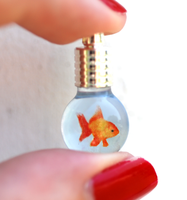 Tiny Goldfish in Bulb-shaped Bottle Pendant by jen4eternity