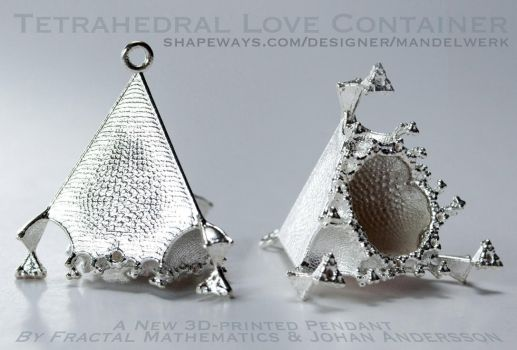 Tetrahedral Love Container - 3D printed in Silver by MANDELWERK