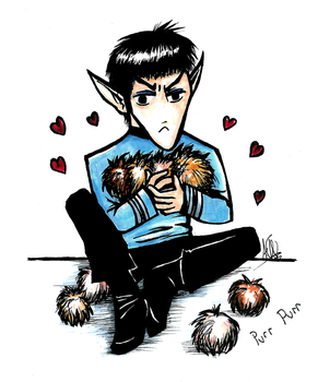 Spock and Tribbles by zizzy