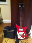 My Red ME 579 Electric Guitar And Yamaha Amplifier by FireFoxOmicron