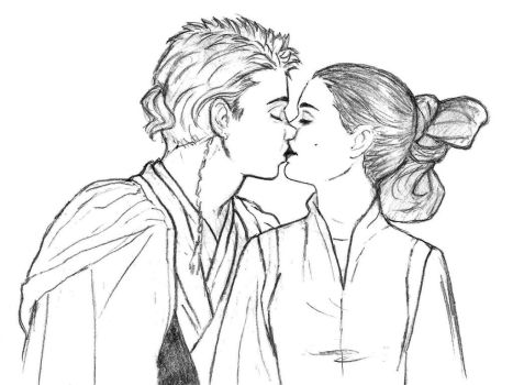 Anakin and Padme Kiss - sketch by KatyTorres