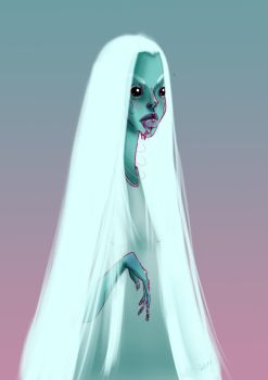 white skydoll with blood by unprintable