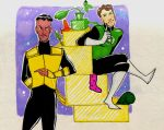 Hal and Sinestro carrying their goodies by GlenLorence