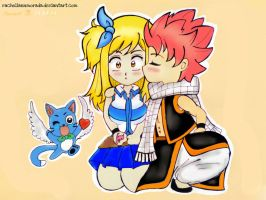 Lucy and Natsu and Happy by rachellannmorada