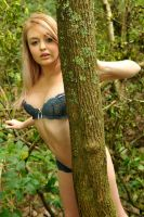Hana - blue lingerie in forest 1 by wildplaces