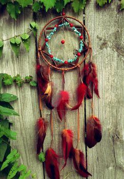 Red and Brown Dream Catcher by xsaraphanelia