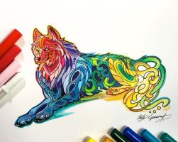 315- Laying Rainbow Wolf by Lucky978