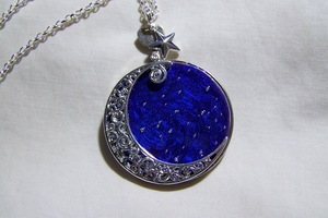 Celestial Silver Moon Painted Sky Glass Pendant by mymysticgems