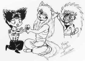 YYH: chibi demons by youkobutt