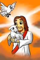 Jesus and little lamb by Enricthepenguin92