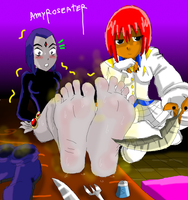 Amy Tickling Raven Stinky Feet by amyroseater