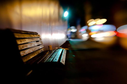 bench at night by S-t-r-a-n-g-e