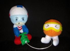Dig Dug and Pooka plushie by NiGHTSfanKevin