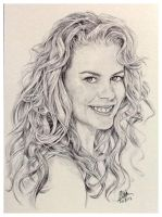 Ballpoint pen sketch of Nicole Kidman by chaseroflight
