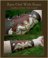Barn Owl With Roses - Leather Archery Arm Guard by windfalcon