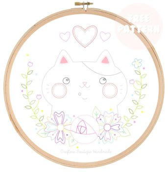 I Love My Cat Pattern - Free Embroidery Pattern by CraftersBoutique