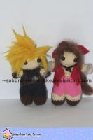 Cloud and Aerith Fanknit by sakura-sweetcake