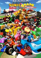Mario, Sonic and Crash Team Kart Racing by SuperSaiyanCrash