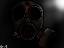 Bloody gas mask by Lace-Agate