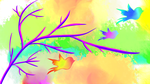Abstract Colorful Wallpaper ~ Birds in the Sky by oscurabella