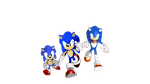 Classic Sonic, Modern Sonic and Boom Sonic by 9029561