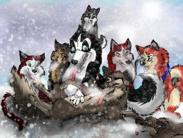 Art Trade with Tiklishwolf: Snow Day by AgentWhiteHawk