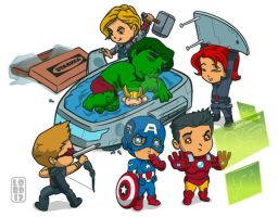 Lil Avengers Assemble...the Quin-Bed! by lordmesa