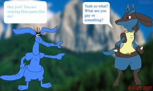 Blue Aardvark and Lucario XD by TR-Kurt