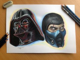 color pencil drawing of Darth Vader - Sub Zero by AtomiccircuS