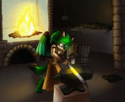 .:Commission:. Sword forging by Silvori