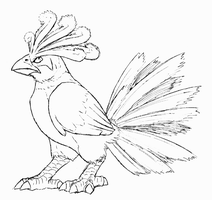 """Ho-oh"" Lineart by FishBatDragonThing"